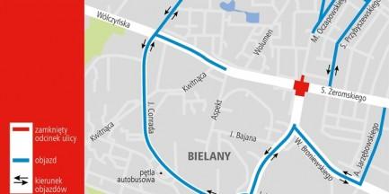 Skrzyżowanie na Bielanach przez trzy dni całkowicie zamknięte