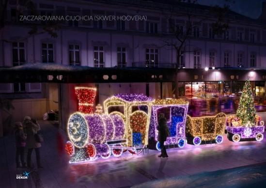 Świąteczna iluminacja. Fot.UM Warszawa. Wizual: Multudekor
