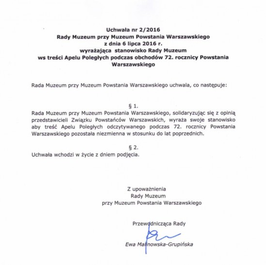 Uchwała Rady Powstania Warszawskiego