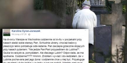 Starszy pan codziennie odwiedza grób żony. Potrzebuje asystenta. Pomóc mogą podróżujący z Warszawy do Lublina