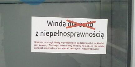 Niepełnosprawne windy na Warszawa Toruńska