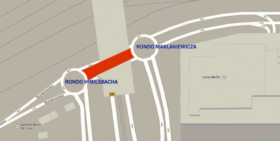 Ulica łącząca ronda obu słynnych aktorów. Grafika: Google Maps